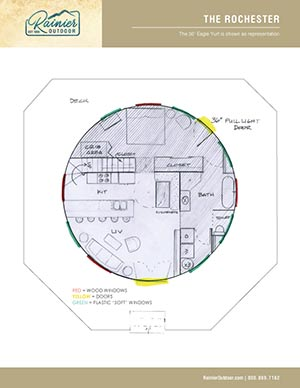 Downloadable PDF architectural rendering  of the Rainier Rochester, yurt floor plan