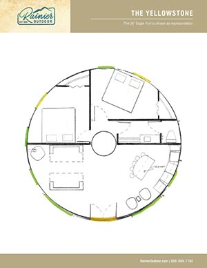 Downloadable PDF architectural rendering  of the Rainier YellowStone, yurt floor plan