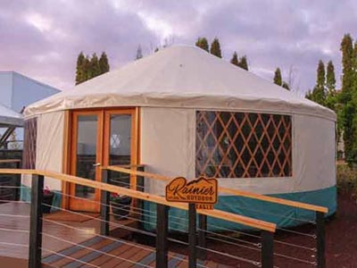 Rainier Eagle Yurt with do it yourself deck in our Rainier Outdoor shelter yurt park in Tukwila, Washington