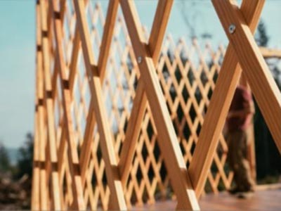Rainier outdoor yurt walls are built from Douglas Fir wood lattice, strong with wind resistance in mind