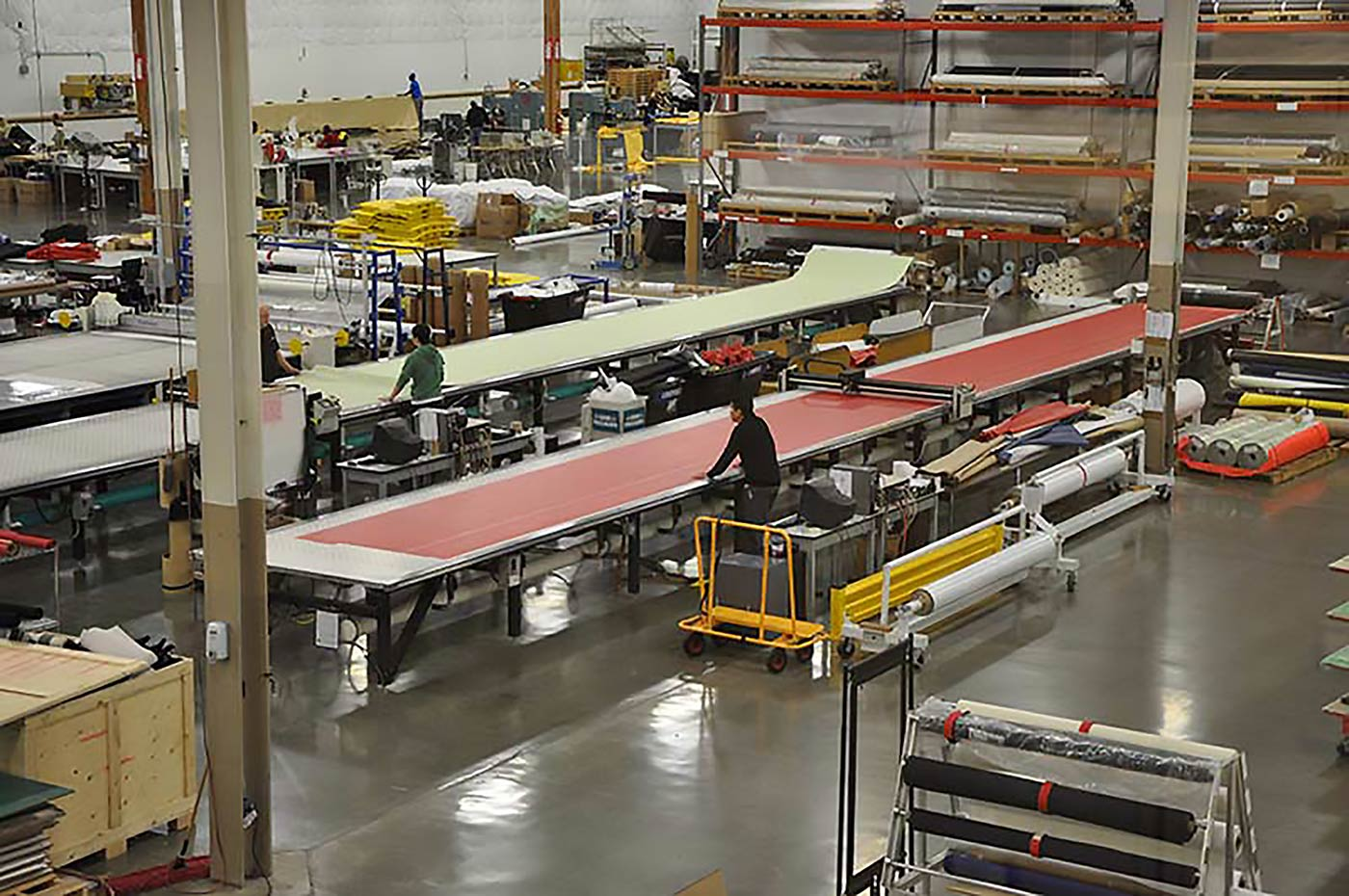 Sky view of the Rainier fabric department in action