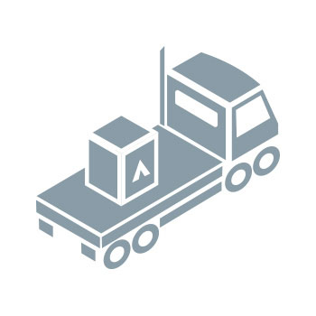 Info graphic of Flatbed truck with crate on it. Order Shipped