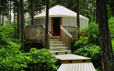 A Rainier Eagle Yurt with gangplank and front porch nestled lush forest surrounding