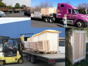 Rainier Shipping department. This is a collage of images of crates trucks and forklift